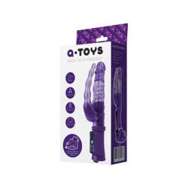 Фиолетовый анально-вагинальный вибратор на присоске A-toys